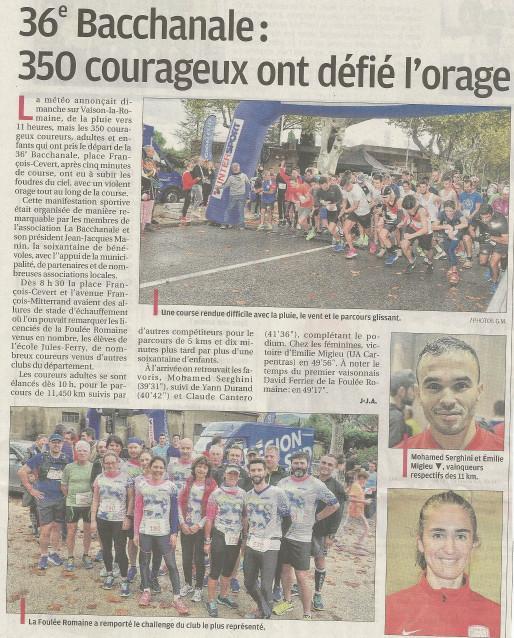 Presse 2019 11 05 La Provence La Bacchanale  250 courageux